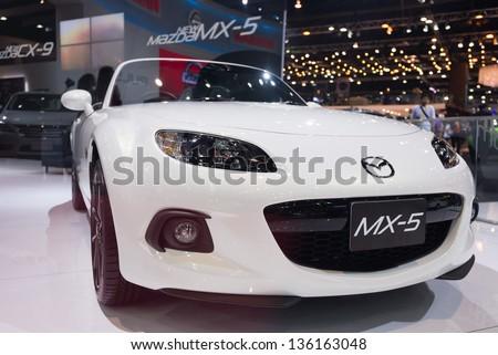 BANGKOK - MARCH 26 : new Mazda MX-5 on display at The 34th Bangkok International Motor Show 2013 in Bangkok, Thailand. - stock photo