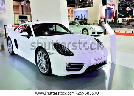 BANGKOK - March 26 : New Porsche Cayman, Sport car, on DisPlay at 36th Bangkok International Motor Show on March 26, 2015 in Bangkok, Thailand. - stock photo