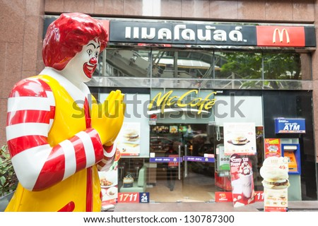 BANGKOK - MARCH 15: of McDonald's storefront in the centre of the capital on March 15, 2012 in Bangkok, Thailand. There are over 160 McDonald's restaurants in Thailand. - stock photo