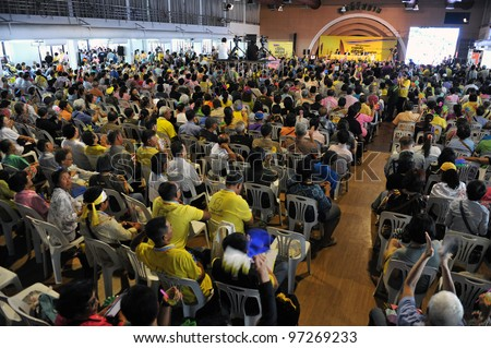 BANGKOK - MARCH 10: People's Alliance for Democracy hold a conference titled Thailand Revolution in Lumpini Hall to discuss the future of the royalist movement on March 10, 2012 in Bangkok, Thailand. - stock photo
