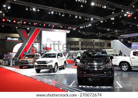 BANGKOK - MARCH 25: Showroom of Isuzu car  at The 36 th Bangkok International Motor Show on March 25, 2015 in Bangkok, Thailand. - stock photo