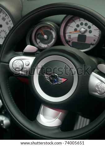 BANGKOK - MARCH 25: Steering wheel and dashboard of a Mini Cooper at the 32nd Bangkok International Motor Show at Impact Challenger on March 25, 2011 in Bangkok, Thailand.
