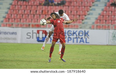 BANGKOK,MARCH 05:Teerasil Dangda(10) of Thaialand in action during AFC Australia 2015(Qualifiers) between Thailand and Lebanon at Rajamangala Stadium on March 05,2014 in Bangkok,Thailand.