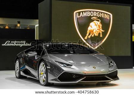 BANGKOK - MARCH 22 : The Lamborghini Aventador on display at The 37th Bangkok International Motor Show : No �Boundaries Mobility on March 22, 2016 in Bangkok, Thailand. - stock photo