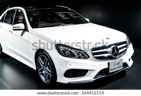 "BANGKOK - MARCH 24 : The Mercedes Benz CLS 250 CDI Coupe on display at The 36th Bangkok International Motor Show ""Art of Auto"" on March 24, 2015 in Bangkok, Thailand. - stock photo"