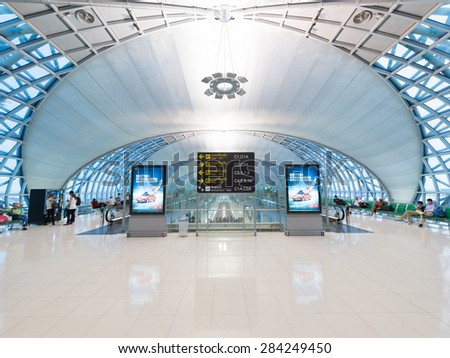 BANGKOK - MARCH 18; 2015: Unidentified air passengers wait for boarding at the departure area of the International Airport Suvarnabhumi which is the sixth busiest airport in Asia. - stock photo