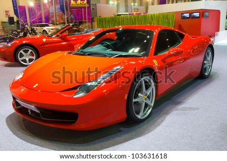 BANGKOK - MAY 20: Ferrari 458 sports car on display at the Super Car Import Car Show at Impact Muang Thong Thani on May 20, 2012 in Bangkok, Thailand - stock photo