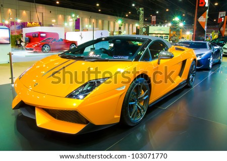 BANGKOK - MAY 20: Lamborghini Galardo sports car on display at the Super Car   Import Car Show at Impact Muang Thong Thani on May 20, 2012 in Bangkok, Thailand - stock photo