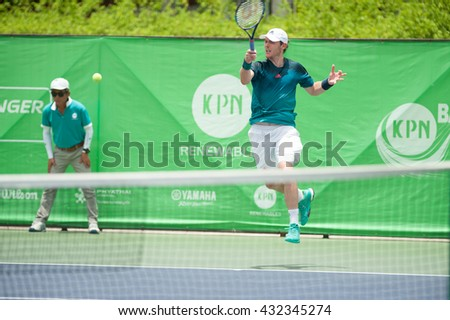 BANGKOK - May 22: Sam BARRY Ireland in the tournament list KPN renewable Bangkok opened in 2016 the final at Rama Gardens Hotel on May 22, 2016 in Bangkok, Thailand.