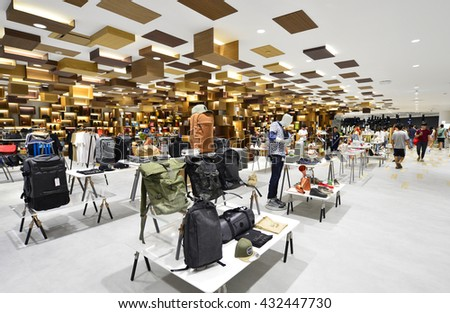 BANGKOK - MAY 28: Shop in Siam Discovery and the new concept is new The Biggest Arena of Lifestyle Experiments. On May 28, 2016, it is a shopping mall in the big centres Bangkok, Thailand - stock photo