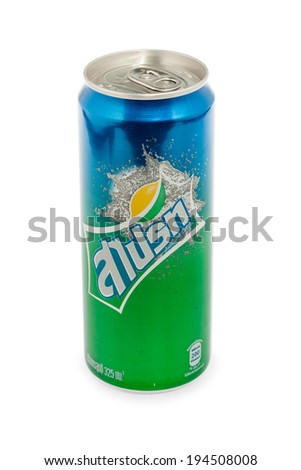 BANGKOK - MAY 24, 2014: Sprite can on white background. Sprite is popular lemon-lime flavored soft drink created by Coca-Cola company.