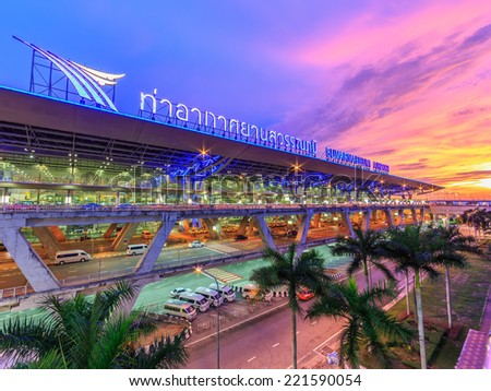 BANGKOK- MAY 17: Suvanaphumi Airport at twilight on May 17, 2014 in Bangkok. Suvarnabhumi airport is world's 4th largest single-building airport terminal. - stock photo