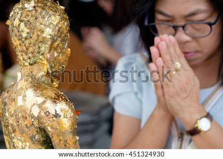 Bangkok, 20 May 2016, Thailand, people pray in temple for visakha bucha day - the most important memorial day in buddism, Bangkok Thailand