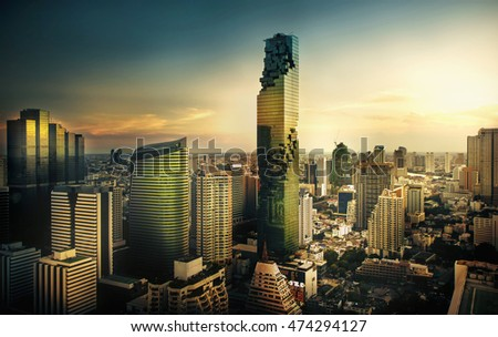 BANGKOK MAY 5,2016:Top view Commercial building in Bangkok city at sunset with skyline,Thailand