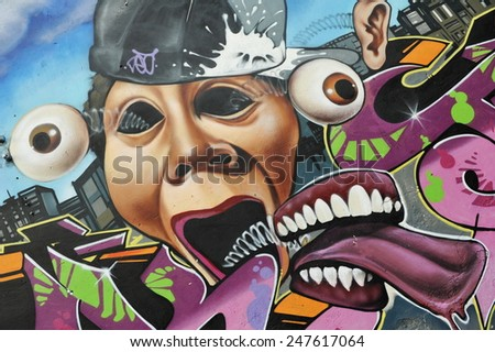 BANGKOK - MAY 27: View of a graffiti piece by an unidentified artist on a city centre wall on May 27, 2013 in Bangkok, Thailand. The Thai capital is renowned for its vibrant street art scene. - stock photo