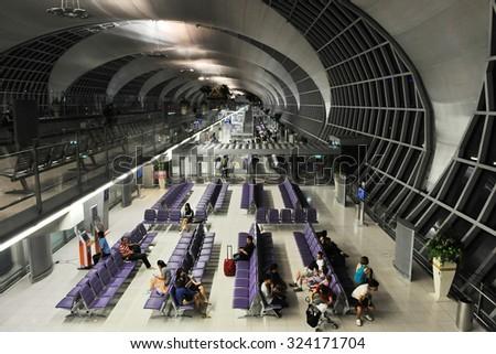 BANGKOK - MAY 9: View of departure gate lounges at Suvarnabhumi International Airport on May 9, 2013 in Bangkok, Thailand. The SE Asia aviation hub handles 45 million passengers annually. - stock photo