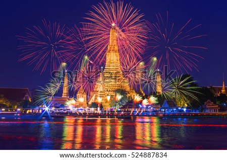 Bangkok new year countdown fireworks at Wat Arun Temple, Bangkok, Thailand.