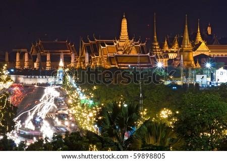 Bangkok Night view of Grand Palace or Wat Phra Keao Temple in Bangkok Thailand - stock photo