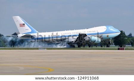 BANGKOK - NOV 18: Air Force One lands at Don Muang International Airport as US President Barack Obama begins a historic tour of Southeast Asia on November 18, 2012 in Bangkok, Thailand. - stock photo
