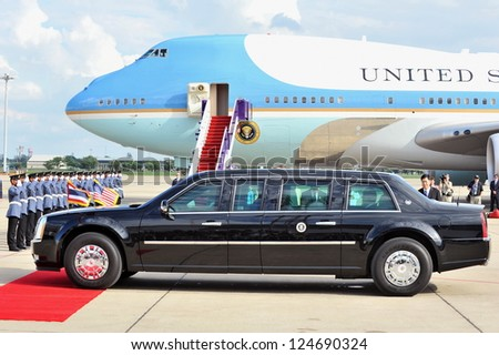 BANGKOK - NOV 18: US Presidential State Car waits by Air Force One on tarmac at Don Muang International Airport as President Barack Obama begins a SE Asia tour on Nov 18, 2012 in Bangkok, Thailand. - stock photo