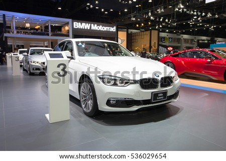 BANGKOK - November 30: BMW 330e Luxury car on display at Motor Expo 2016 on November 30, 2016 in Bangkok, Thailand.