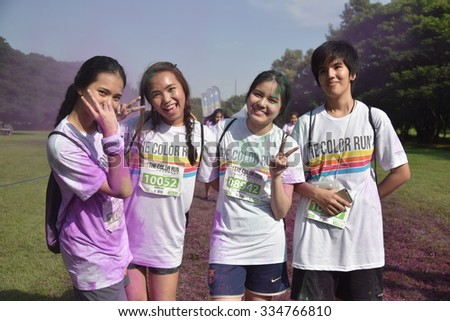BANGKOK, NOVEMBER 1 : Crowds of unidentified people at The Color Run on November 1, 2015 in Bangkok, Thailand. The Color Run is a worldwide hosted fun race in Bangkok.