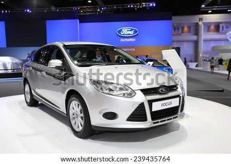 BANGKOK - November 28: Ford Focus car on display at The Motor Expo 2014 on November 28, 2014 in Bangkok, Thailand. - stock photo
