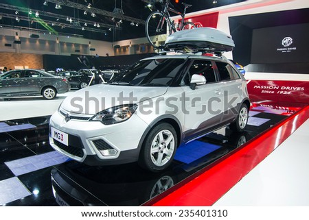 BANGKOK - NOVEMBER 28: MG3 car on display at The 31st Bangkok International Motor Expo on November 28, 2014 in Bangkok, Thailand.