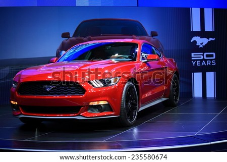 BANGKOK - NOVEMBER 28 :Mustand Fastback displayed on booth of Ford in Motor Expo 2014, Nov. 29 - dec. 10 in Bangkok, Thailand.