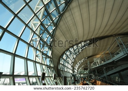 BANGKOK-November 17 : The main concourse of Suvarnabhumi Airport, designed by Helmut Jahn is the world's third largest single-building airport terminal on November 17, 2014 in Bangkok, Thailand - stock photo