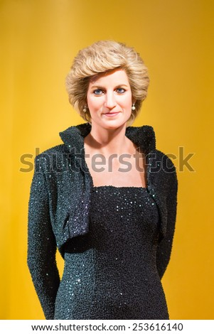BANGKOK - OCT 21: A waxwork of Diana queen on display at Madame Tussauds on Oct 21, 2012 in Bangkok, Thailand. Madame Tussauds' newest branch hosts waxworks of numerous stars and celebrities.  - stock photo