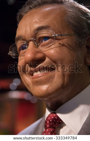 BANGKOK - OCT 28: A waxwork of Mahathir bin Mohamad on display at Madame Tussauds on October 28, 2015 in Bangkok, Thailand. Madame Tussauds' newest branch hosts waxworks of numerous celebrities.