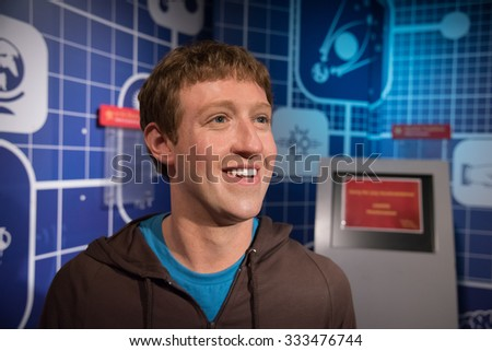 BANGKOK - OCT 28: A waxwork of Mark Zuckerberg on display at Madame Tussauds on October 28, 2015 in Bangkok, Thailand. Madame Tussauds' newest branch hosts waxworks of numerous stars and celebrities. - stock photo