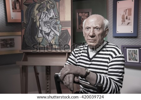 BANGKOK - OCT 28: A waxwork of Pablo Picasso on display at Madame Tussauds on October 28, 2015 in Bangkok, Thailand. Madame Tussauds' newest branch hosts waxworks of numerous stars and celebrities.