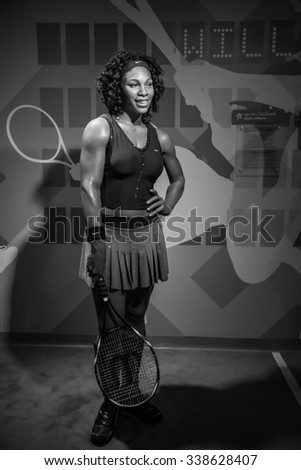 BANGKOK - OCT 28: A waxwork of Serena Williams on display at Madame Tussauds on October 28, 2015 in Bangkok, Thailand. Madame Tussauds' newest branch hosts waxworks of numerous stars and celebrities.