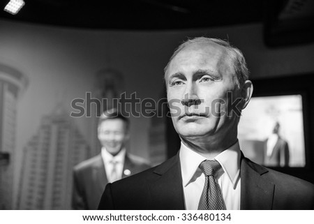 BANGKOK - OCT 28: A waxwork of Vladimir Putin on display at Madame Tussauds on October 28, 2015 in Bangkok, Thailand. Madame Tussauds' newest branch hosts waxworks of numerous stars and celebrities. - stock photo