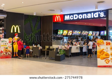 BANGKOK - OCT 5: McDonald's Restaurant at Central Salaya, Bangkok on Oct 5, 2014. McDonald's operates in 119 countries with 160 stores in Thailand. - stock photo