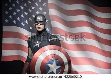 BANGKOK - OCTOBER 28: A waxwork of Chris Evans on display at Madame Tussauds on October 28, 2015 in Bangkok, Thailand. Madame Tussauds' newest branch hosts waxworks of numerous stars and celebrities. - stock photo