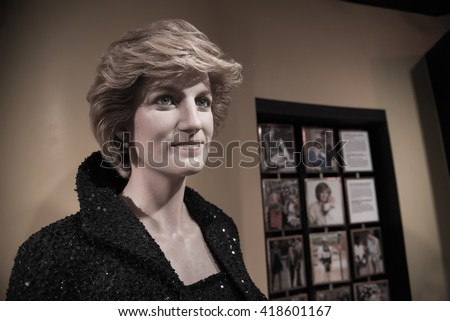 BANGKOK - OCTOBER 28: A waxwork of Diana, Princess of Wales on display at Madame Tussauds on October 28, 2015 in Bangkok, Thailand.