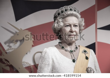BANGKOK - OCTOBER 28: A waxwork of Her Majesty Queen Elizabeth II on display at Madame Tussauds on October 28, 2015 in Bangkok, Thailand. - stock photo