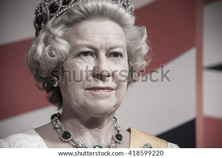 BANGKOK - OCTOBER 28: A waxwork of Her Majesty Queen Elizabeth II on display at Madame Tussauds on October 28, 2015 in Bangkok, Thailand.