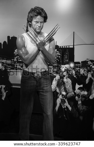 BANGKOK - OCTOBER 28: A waxwork of Hugh Jackman on display at Madame Tussauds on October 28, 2015 in Bangkok, Thailand. Madame Tussauds' newest branch hosts waxworks of numerous stars and celebrities.