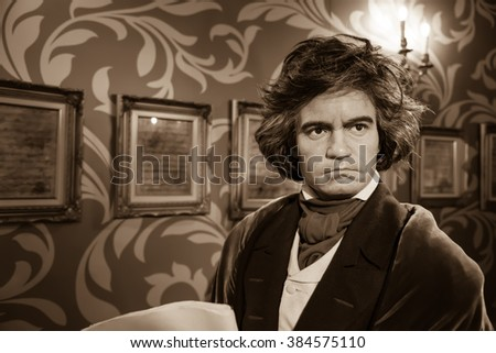 BANGKOK - OCTOBER 28: A waxwork of Ludwig van Beethoven on display at Madame Tussauds on October 28, 2015 in Bangkok, Thailand. Madame Tussauds' newest branch hosts waxworks of numerous celebrities.