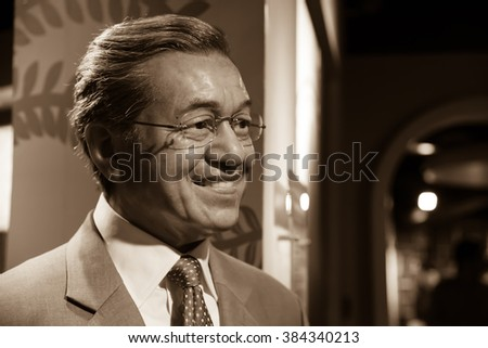 BANGKOK - OCTOBER 28: A waxwork of Mahathir bin Mohamad on display at Madame Tussauds on October 28, 2015 in Bangkok, Thailand. Madame Tussauds' newest branch hosts waxworks of numerous celebrities.