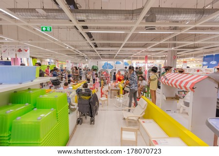 BANGKOK - OCTOBER 23: People shop at IKEA Bangkok Store on October 23, 2013 in Mega Bangna, Bangkok. Founded in Sweden in 1943, Ikea is the world's largest furniture retailer.