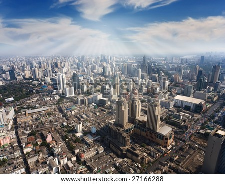 Bangkok, panorama, aerial photo - stock photo