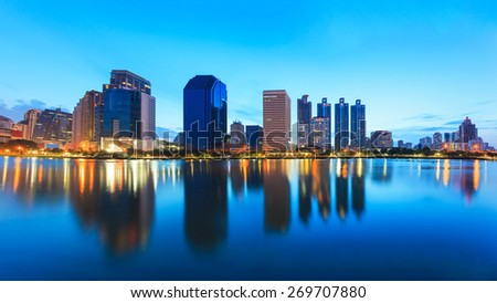 Bangkok panorama, cityscape night view - stock photo