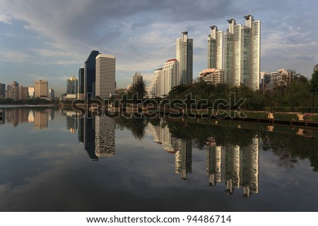 Bangkok Park, reflection of building, bangkok, thailand