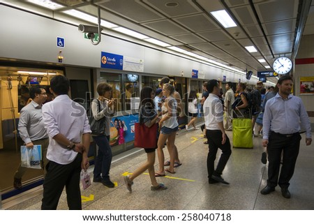 BANGKOK : Passengers on a Metropolitan Rapid Transit (MRT) subway train on 26 february 2015 in Bangkok. Thailand. The MRT serves 240,000 people daily with 18 stations and 27 km of track. - stock photo