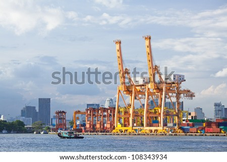 Bangkok Port Terminal for shipping and logistic - stock photo